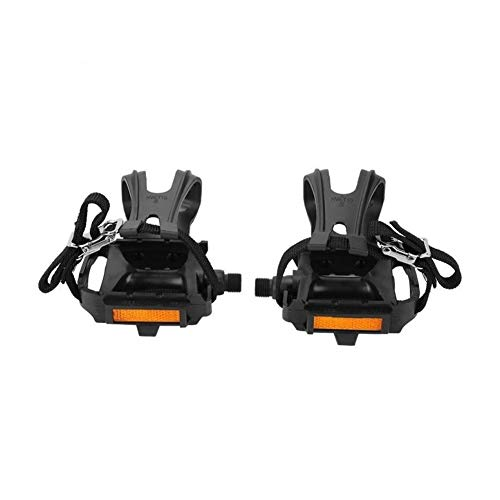 JINSUO Moonlight Star Bike Pedals-1 Pair Cycling Pedals Toe Clips Straps Nylon Straps Pedal Toe Clip Belt for Mountain Road Bike Outdoor Cycling Parts (Color : Black)