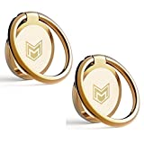 Cell Phone Ring Holder Stand – 2 Pack Finger Ring Kickstand 360 Degree Rotation Polished Metal Phone Grip for Magnetic Car Mount Compatible with All Smartphones – Gold