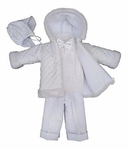 deine-Brautmode Taufanzug Festanzug Jacke Winterjacke Hose Hemd Taufe Baby Anzug Winter Set, Adam weiß 62