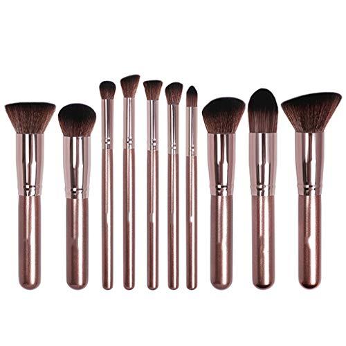 Café d'or 10pcs pinceau de maquillage Kit de pinceaux de maquillage Kabuki Fond de teint mélange de poudre de maquillage correcteur d'ombres à paupières
