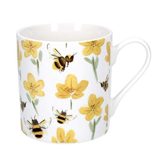 Gisela Graham Taza de porcelana con diseño de abeja y mariposa, en caja