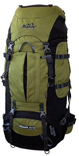 Tashev Outdoors Mount Trekkingrucksack Front und Toplader Wanderrucksack Damen Herren Backpacker Rucksack groß 60l Plus 10l mit Regenschutz (Hergestellt in EU) (Grün)