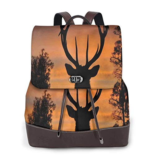 Women's Leather Backpack,Black Deer On Sky Background West Coast South Island New Zealand Nature,School Travel Girls Ladies Rucksack