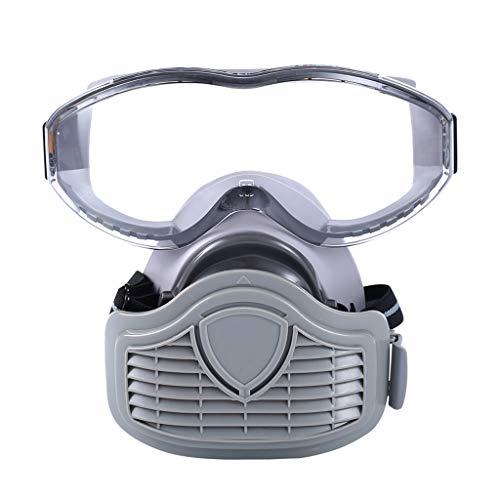 ZChun - Mscara Antipolvo Transpirable para semicmscara, mscara Protectora con Gafas de Seguridad para el Carpintero Constructor, Accesorios de Pulido