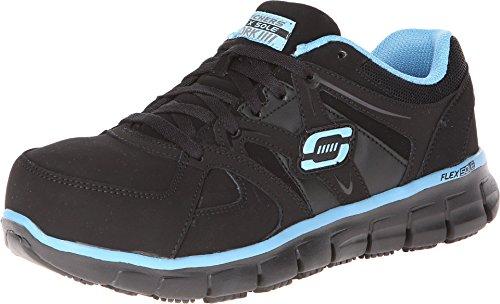 Skechers for Work Women's Synergy-sandlot Work Boot, Black/Blue, 9 M US
