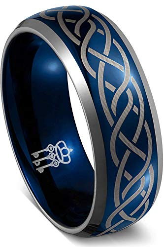 THREE KEYS JEWELRY Mens Rings Unique Blue Tungsten Carbide for Man Laser Celtic Knot Ring 8mm Wedding Band Gifts Bands Rings for Men Size 12