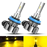 ZonCar H11 H8 Led Fog Light Bulb Yellow, 3000K 4000 Lumens Golden Yellow Fog Light Bulbs Super Bright H11 H8 H16 Fog Light High Power IP67 Waterproof LED Fog Light Bulb Replacement For Cars, Pack of 2