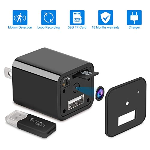 LedianTech Home Surveillance Charger Camera 1080P Motion Detection Wall Adapter Camera Loop Recording 32GB -No WiFi Needed -2019 Version