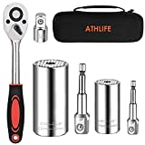 Athlife Universal Socket Wrench Set (11-32mm 7-19mm) Professional Sockets Tools Multi-function Wrench Repair Tool Kit with 3/8 inch Ratchet Wrench & Power Drill Adapter Chrome Vanadium Steel