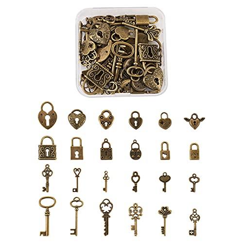 Cheriswelry 48 colgantes de llave y cerradura de bronce antiguo, estilos mixtos, estilo vintage, diseño de corazón con forma de corazón, para joyería, manualidades