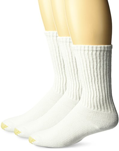 Gold Toe mens Ultra Tec Performance Crew Athletic Socks, 3 Pairs Socks, White, Shoe Size 6-13 US