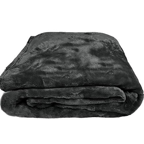 JEMIDI Flanell Microfaser Kuscheldecke Wohndecke Sofadecke Bettüberwurf Sofa Decke erhältlich in 3 Größen bis XXL Flanell Anthrazit 170cm x 130cm