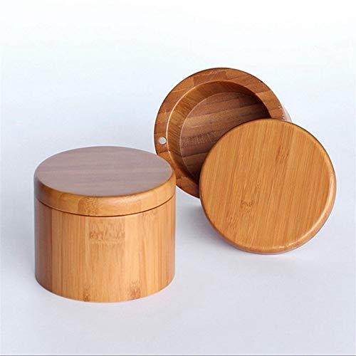 JYKJ Gewürz 2ST Aufbewahrungsbox Salz-Kasten aus Holz Bambus-Aufbewahrungsbehälter mit magnetischen Drehdeckelbehältern for Küche Lagerbehälter dosen