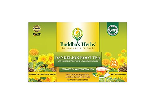 Buddha's Herbs 100% Natural Dandelion Root Tea with Burdock Roots - Digestion and Immune Support - Caffeine Free - Pack of Two (44 Tea Bags)