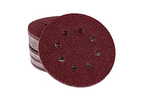 50 Blat Klett/Haft Schleifscheiben für Exzenterschleifer, Ø 125 mm – 8 Loch, Korn 180 / Schleifscheiben/Exzenterschleifpapier