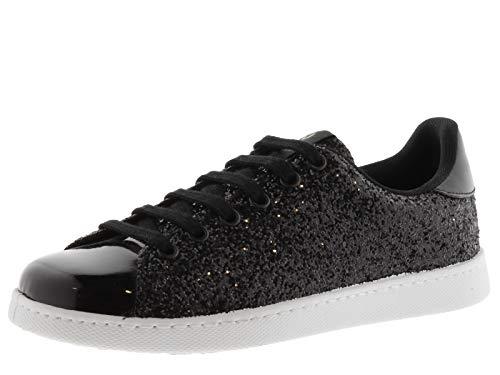 Victoria 112558-WOMEN Sneaker Tennis Glitter Basses Femme Negro 39