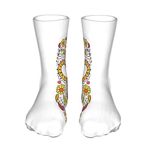 Colorful Skull Mask Day Flower Socks For Women Or Girls Size 50 cm Crew Socks, Fun Girls Clothes, Stocking Fillers For Christmas
