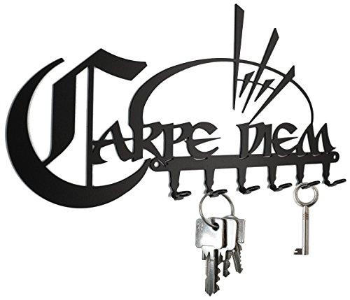 steelprint.de Porte-clés Mural - Carpe Diem - Noire - 6 Crochets - Plaque à clés - Design