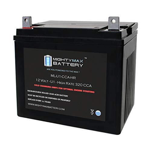 ML-U1-CCAHR - 12V 320 CCA U1 - SLA Starting Battery for Lawn, Tractors and Mowers - Mighty Max Battery Brand Product (3878105)