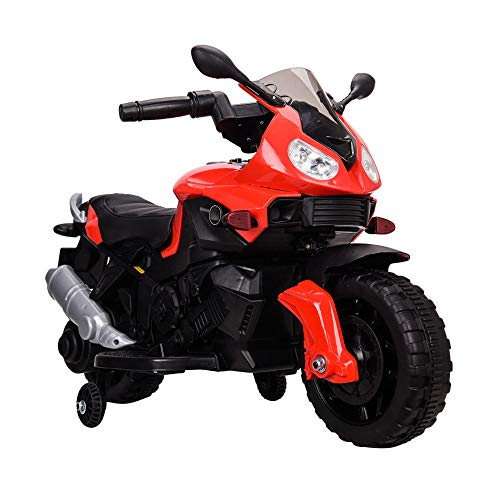 Tamco Sports Motorcycle Ride On Toy with Training Wheel, Electric Power Tricycle with Foot Pedal Starter, Music & Honk & Motorcycle Roar Sound, Super Easy Driving for Kids 2-4 Years Old, Max Load 45LB