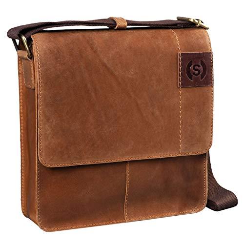 STILORD 'Mircos' Tablet Umhängetasche Leder 9.7 Zoll iPad Tasche für Herren Männer mittel-große Schultertasche Vintage Ledertasche Messenger Bag Echtleder, Farbe:taranto - braun