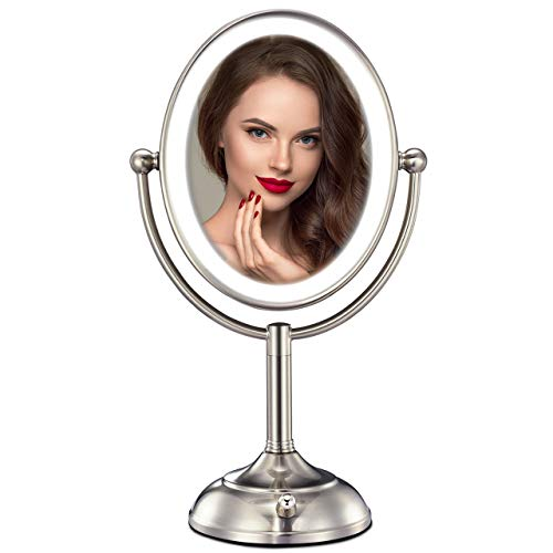 MIRRORMORE Professional 8'' Lighted Makeup Mirror, Oval 5X Magnifying LED Vanity Mirror with 28 Dimmable SMDs (High up to 1100lux), Pearl Nickel Cosmetic Mirror, Desk Lamp Night Light Alternative