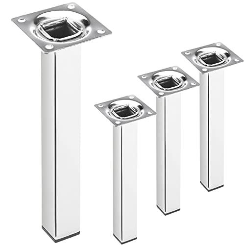 PrimeMatik - Pies Cuadrados para Mesa y Mueble. Patas en Acero Cromado de 25cm 4-Pack