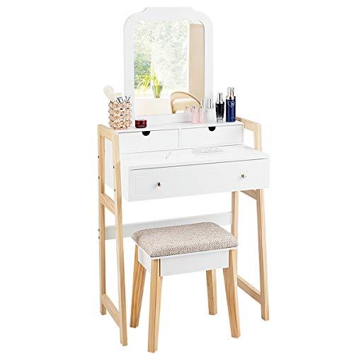 COSTWAY Tocador con Taburete Tapizado y Espejo Mesa de Maquillaje con 3 Cajones y Patas dePino Mesa de Cosméticos Belleza para Dormitorio Blanco