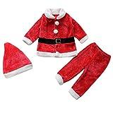 Le SSara Baby Winter 3pcs Weihnachten Weihnachtsmann Outfit Kostüm Hut + Mantel + Hose (6-12 Monate)