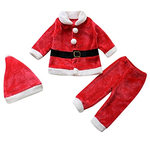 Le SSara Bebé 3pcs Navidad Santa Claus Traje Traje Sombrero + Capa + pantalón (12-18 Meses)