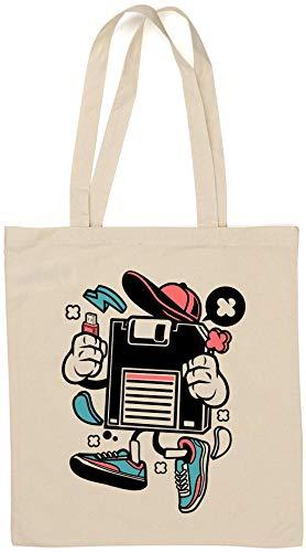Diskette Floppy Disc USB Flash Retro Graphic Einkaufstasche aus natürlicher Baumwolle