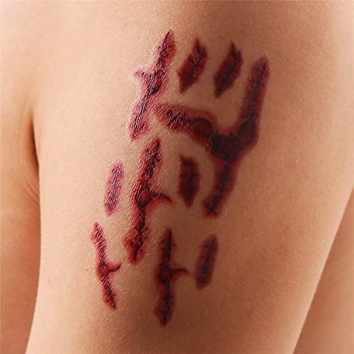 VEYLIN 18 Sheets Halloween Scars Temporary Tattoos 150+ Wound Tattoos Bloody Zombie Stickers for Kids Adults Halloween Party Supplies