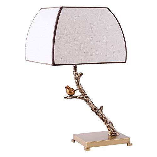 Wotbxchbbtde Lámpara de mesa tradicional de estilo antiguo, creativo simple de la resina de la lámpara, Bird Art Deco Branch, mesa luminosa noche las luces, cortina de la tela, de metal común, bajo co