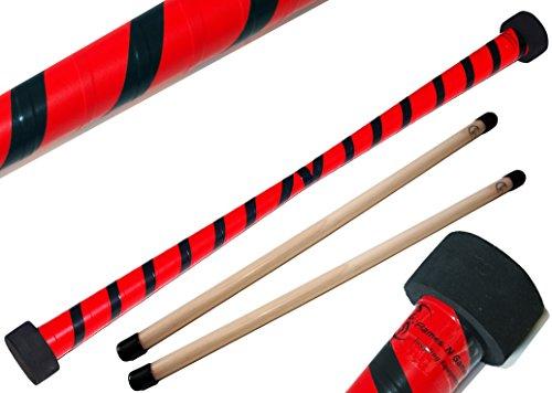 TWIST Devilstick (Rot/Schwarz) inkl. Holz Handstäbe mit 2 mm Silikonmantel von Flames N Games Devil stick Set Für Kinder und Erwachsene.