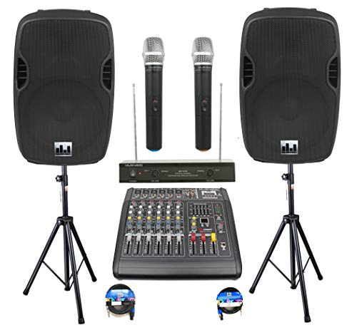 Complete Professional 2000 Watts PA System 6 Ch Mixer 10