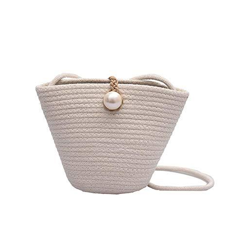 KTENME Damen Crossbody Tasche Schultertasche Bucket Bag Exquisite Woven Straw Beach Bag Messenger Bag - Weiß, 20 x 6 x 16 cm. (Weiß) - VBQYPI7CXK