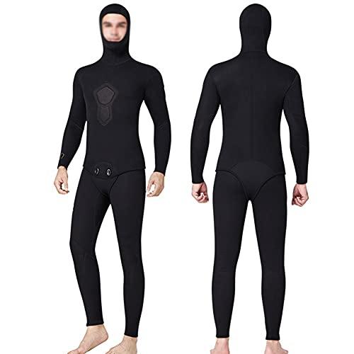 2 Piezas Negras Traje de Buceo, Trajes de Neopreno Cuerpo Completo con Capucha Mantener Caliente (Color : Black, Size : XXL)