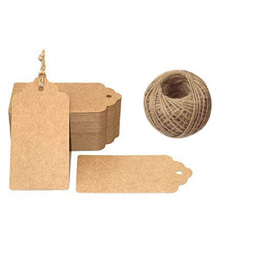 G2PLUS 100 PCS Kraft Gift Tags 5 cm * 10 cm Blank Label Paper Wedding Labels Birthday Luggage Tags Brown Hang Tag with 30 Meters Jute Twine