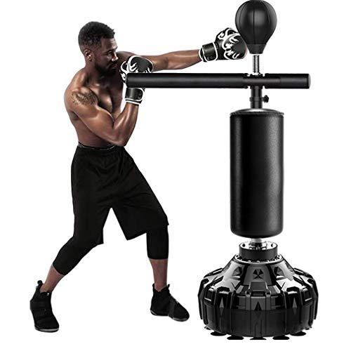 Stands Freistehender Schwerer Trainingsboxball mit Reflexstange, Boxsack, stark haltbar, mit Saugnapfboden, Feder hält harten Schlägen für Erwachsene Teenager