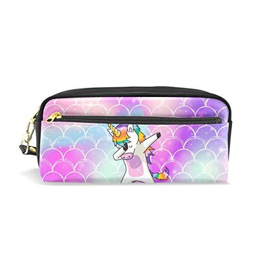 Estuche para lápices, diseño de unicornio con escamas de arcoíris Depositphotos_225791796_Xl-201501 bolsa de maquillaje de viaje impresa de gran capacidad, de piel impermeable, 2 compartimentos,