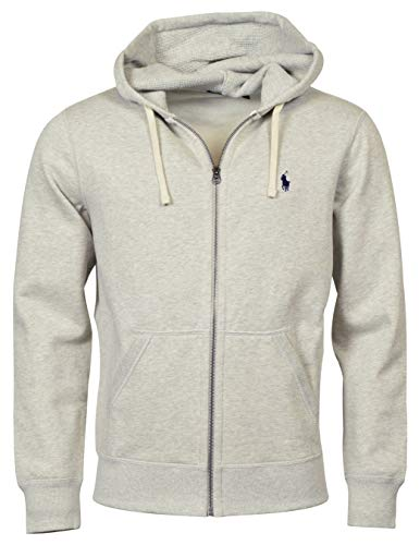 Ralph Lauren Polo Classic Full-Zip Fleece Hooded Sweatshirt (Large, Heather Gray/Navy Logo)