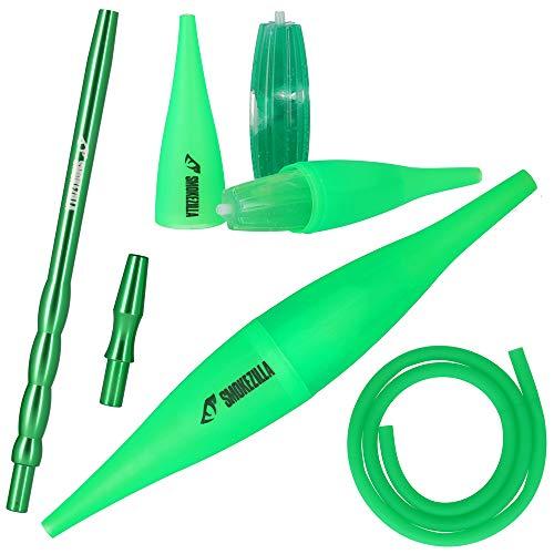 Smokezilla® Cachimba COOLIN Ice Bazooka + Boquilla Aluminio + Manguera Silicona Mate | Ice Bazooka refrigera el Humo! | Compatible con Cada Manguera narguile (Verde fuor)
