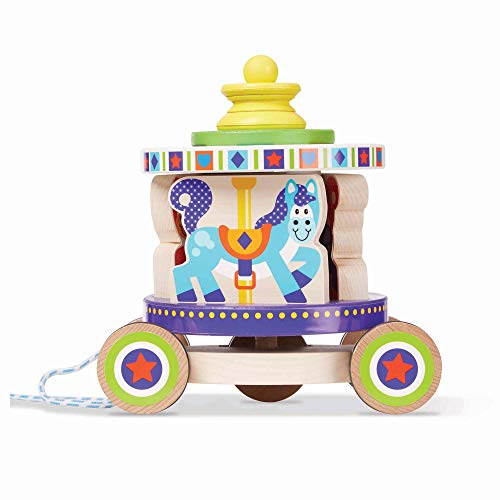 Best Deals! Melissa & Doug First Play Spinning Carousel Wooden Pull Toy with Removable Play Piece, M...