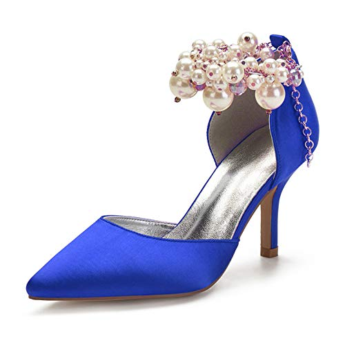 Women's Bridal Wedding Shoes Pointed Toe Satin Stiletto High Heels Pearl Ankle Strap Evening Party Dress Court Pumps,Blue,4 UK
