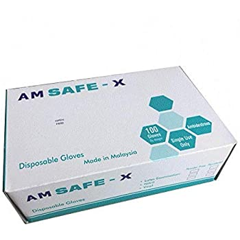 AM SAFE - X Disposable Latex Medical Examination Gloves (100Pcs)| Powdered, Non Tearable, Made In Malaysia (Medium)