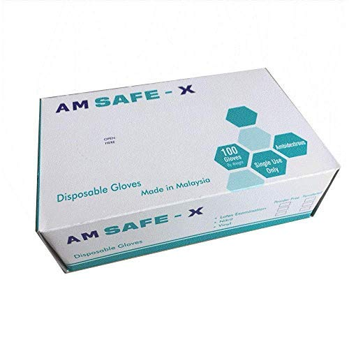 Safe X Disposable Latex Medical Examination Gloves (100Pcs)| Powdered, Non Tearable, Made In Malaysia (Medium)