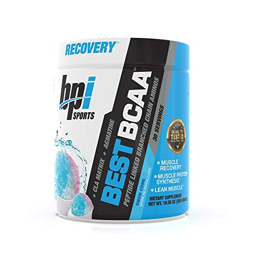 BPI Sports Best BCAA - BCAA Powder - Branched Chain Amino Acids - Muscle Recovery - Muscle Protein Synthesis - Improved Performance – Hydration – Snow Cone - 30 Servings - 10.58 oz.