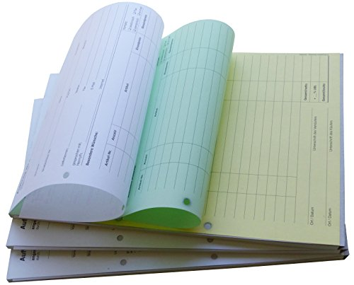 1x Auftragsblock Block Auftrag DIN A4, 3-fach selbstdurchschreibend, 3x30 Blatt weiß/grün/gelb - gelocht (22203)
