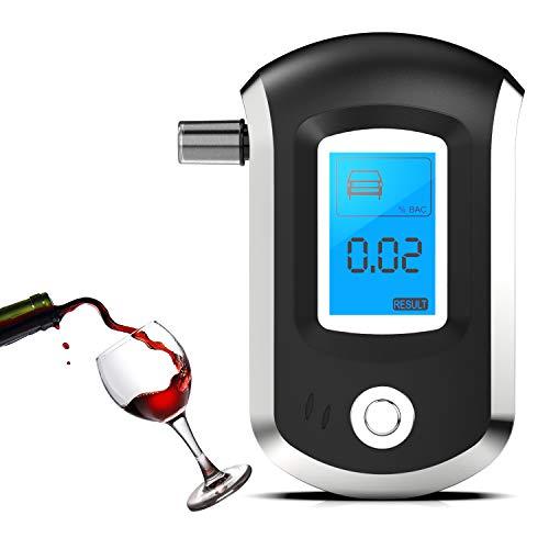 Rybozen Alcootest Ethylotest electronique, Portable Numérique avec Ecran LCD d'Affichage Et Alarme sonore, alcotest numerique Haute Sensibilité avec 5 Embouchures pour Usage Personnel