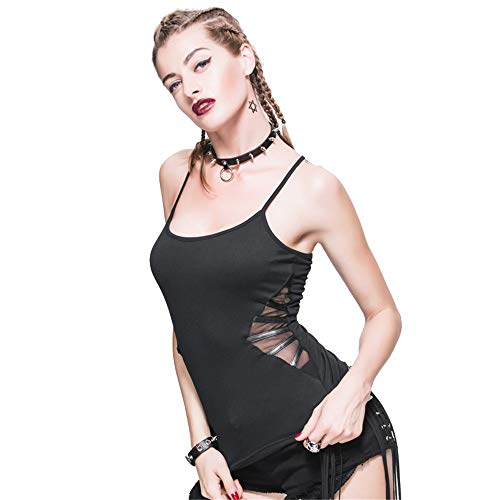 Camiseta sin mangas de mujer Punk Camiseta de tirantes para mujer Sexy Cruzada Volver Color sólido Correa sexy Camisas Camiseta de tirantes Camiseta de verano con espalda descubierta Camisa de camisol